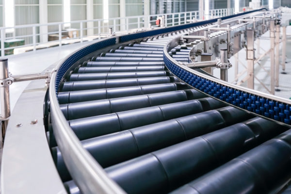 Picture of an industrial roller conveyor in a factory
